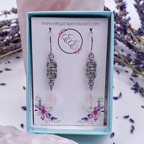 Celtic Inspired Rose Quartz Earrings in Stainless Steel