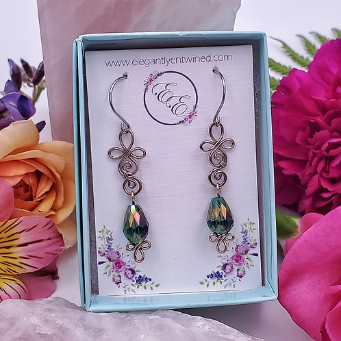 Hammered Swirly Earrings with Teal Green Crystal Teardrops
