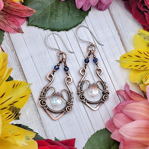Hammered and Woven Copper Earrings with Crystal Accents and Teardrops