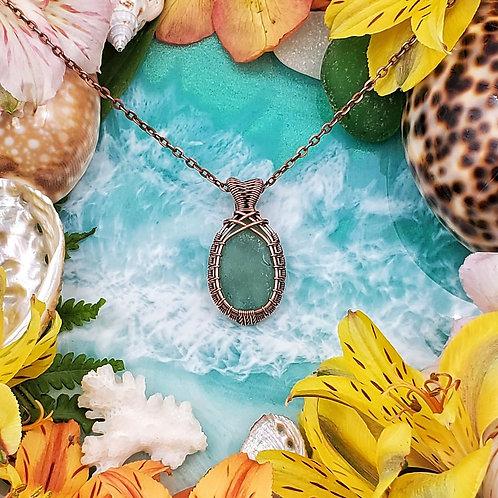 Genuine Washington Sea Glass in Woven Copper Frame