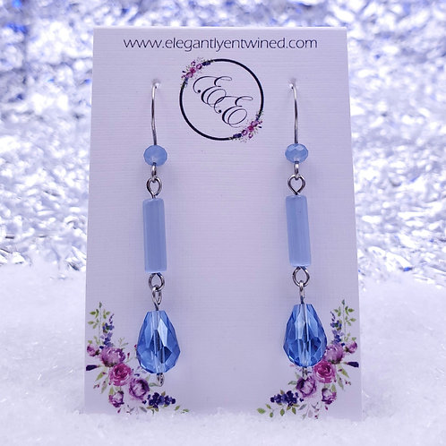 Sky Blue Crystal and Glass Dangle Earrings in Stainless Steel