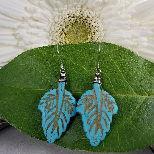 Turquoise Howlite Leaf Earrings in Silver on Stainless Steel Hooks