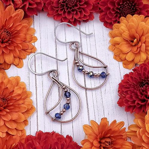 Iridescent Blue Beaded Earrings in Copper