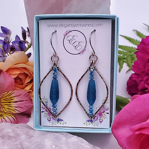 Teal Crystal and Matte Glass Earrings in Hammered Copper Frames