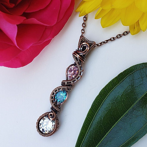 Woven Copper Pendant with Sparkly Cubic Zirconia