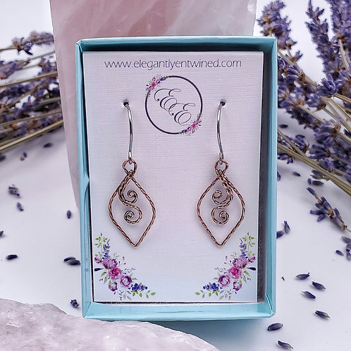 Perfect Everyday Swirly Earrings in Twisted Square Copper - 1 Inch