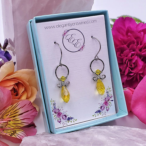 Hammered Silver Earrings with Yellow Crystal Accents