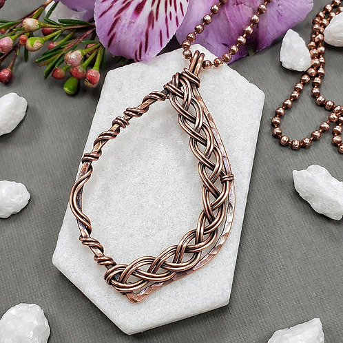 Braided and Hammered Copper Pendant