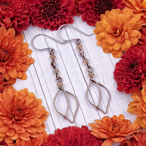 Gold Crystal Beaded Leaf Earrings in Copper