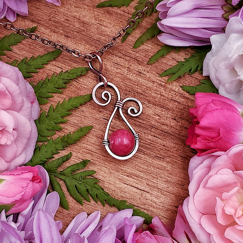 Pink Jade Pendant in a Swirly Hammered Copper Frame