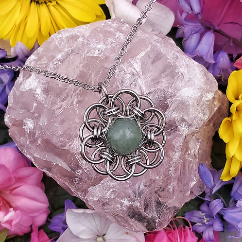 Celtic Flower Pendant with Green Aventurine Bead in Stainless Steel