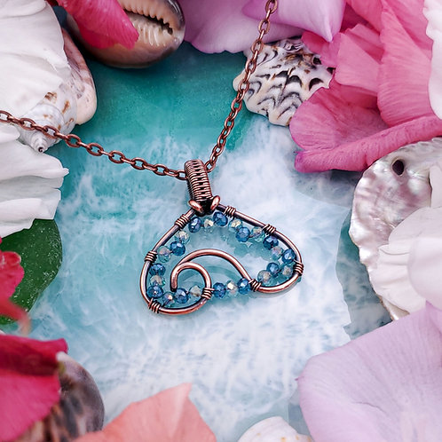 Ocean Lover Wave Pendant in Copper with Blue Crystal Bead Accents