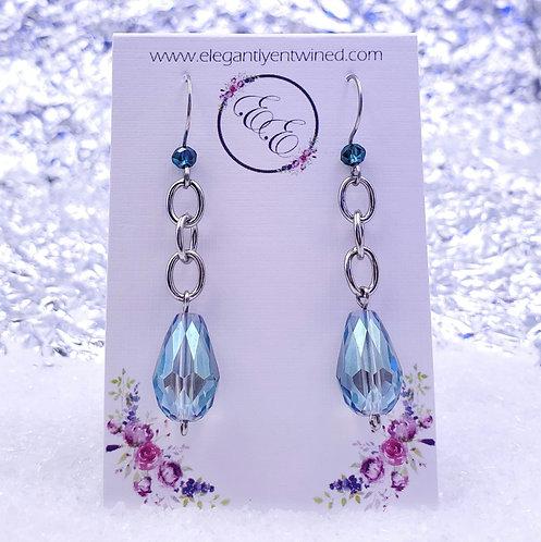 Shimmering Mint Crystal Earrings in Stainless Steel