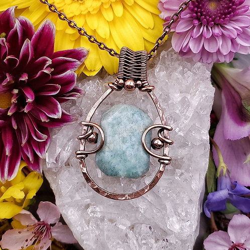 Amazonite Pendant in Hammered Copper Frame
