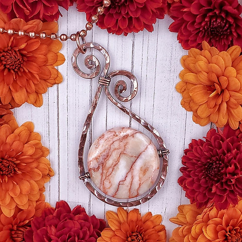 Red Vein Jasper Pendant in Hammered and Swirled Copper