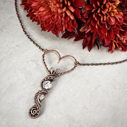 Woven Heart Pendant with 10mm and 5mm Cubic Zirconia