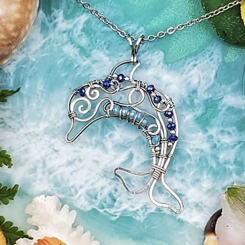 Dolphin Pendant with Crystal Accents in Silver