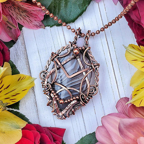 Botswana Agate Pendant in Hammered Copper Frame