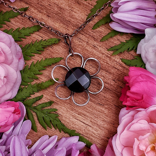Small Hammered Copper Flower Pendant with Faceted Smokey Quartz