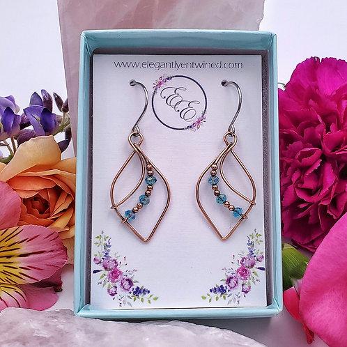 Teal Blue Crystal Beaded Point Earrings in Copper