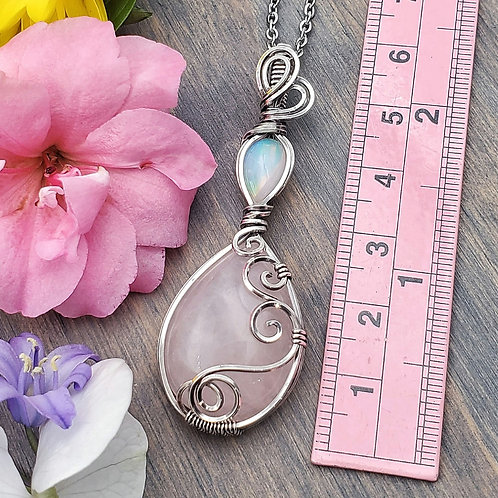 Ethiopian Opal and Rose Quartz Pendant in Swirly Silver Frame