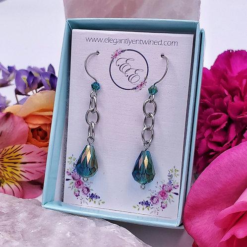 Emerald Green Crystal Earrings in Stainless Steel