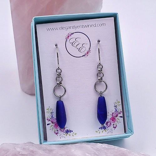 Royal Blue Matte Glass Teardrop Earrings in Stainless Steel