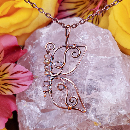 Swirly Copper Butterfly Pendant with Peachy Neutral Crystal Beads