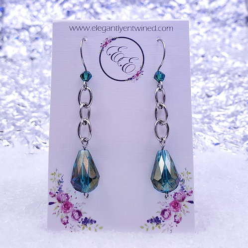 Emerald Green Crystal Earrings in Stainless Steel