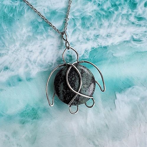 Green Zebra Jasper Sea Turtle Pendant in Silver