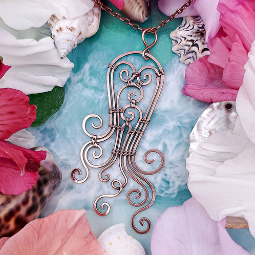 Swirly Abstract Octopus Pendant in Hammered Copper