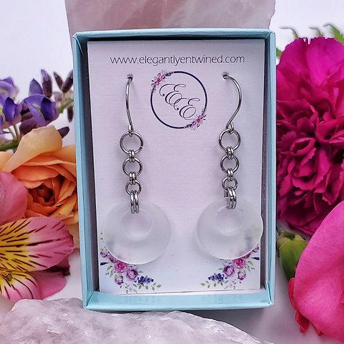 White Matte Glass Donut Earrings in Stainless Steel