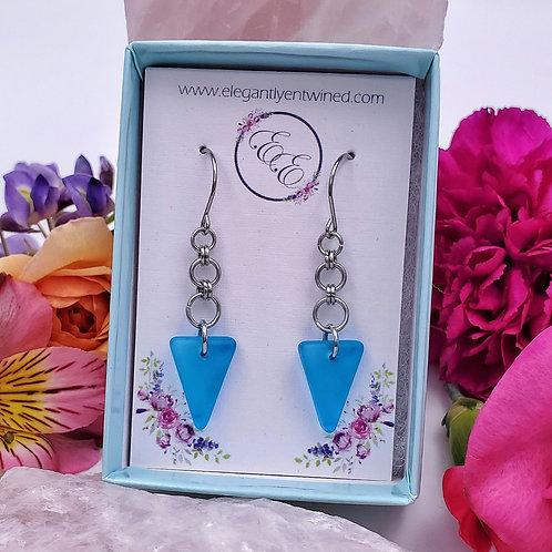 Blue Matte Triangle Earrings in Stainless Steel
