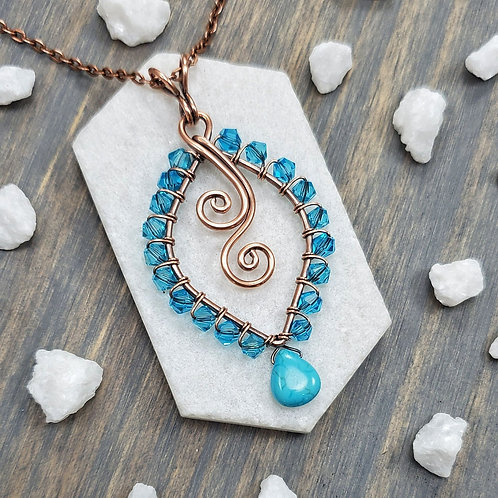 Turquoise Beaded Pendant in Copper