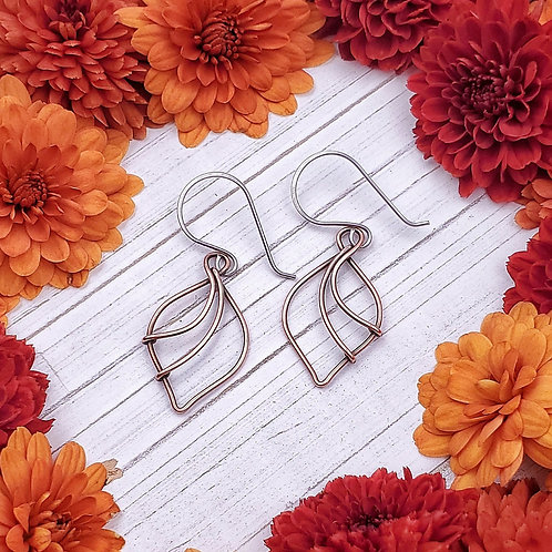 Abstract Leaf Shaped Earrings in Copper