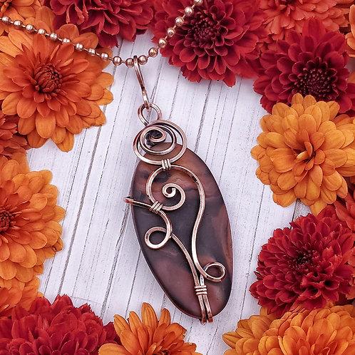 Matte Agate Pendant in Swirly Copper