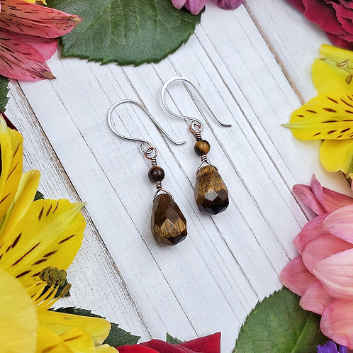 Tiger's Eye Earrings in Copper