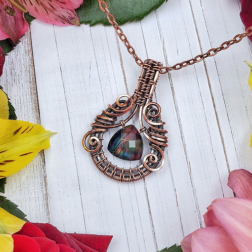 Rainbow Ammolite Crystal Pendant in Woven Copper Frame (Simulated Ammolite)