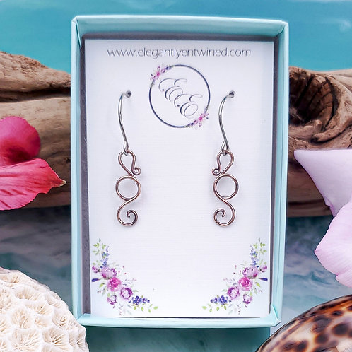 Tiny Seahorse Earrings in Copper