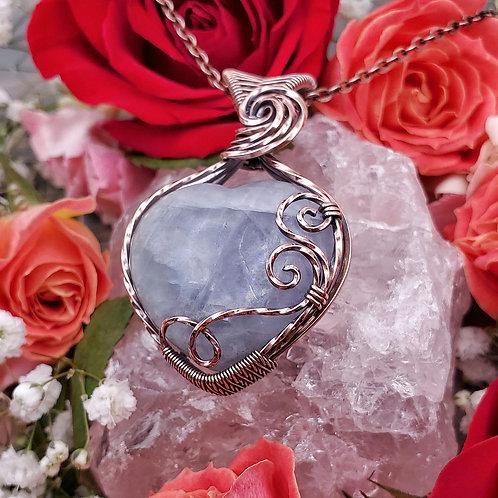 Fluorite Heart Pendant in Swirly Copper Frame
