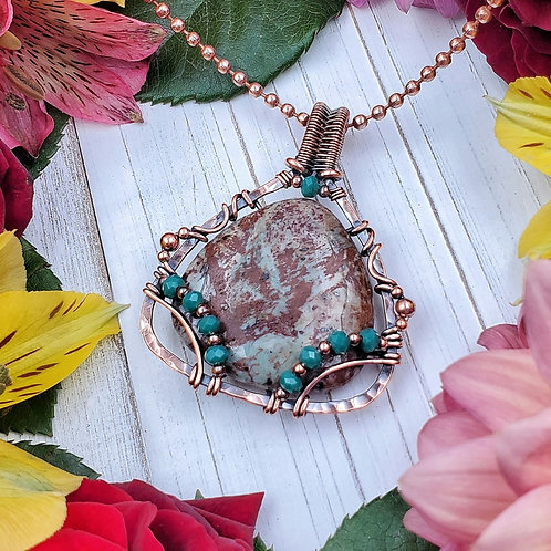 African Green Opal Pendant in Hammered Copper Frame with Crystal Accents