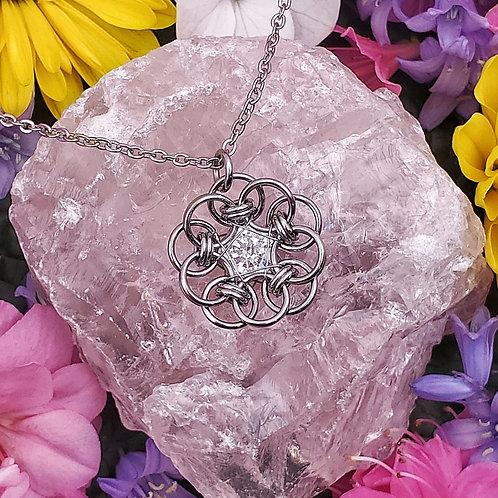 Celtic Flower Pendant with Diamond Zirconia in Stainless Steel