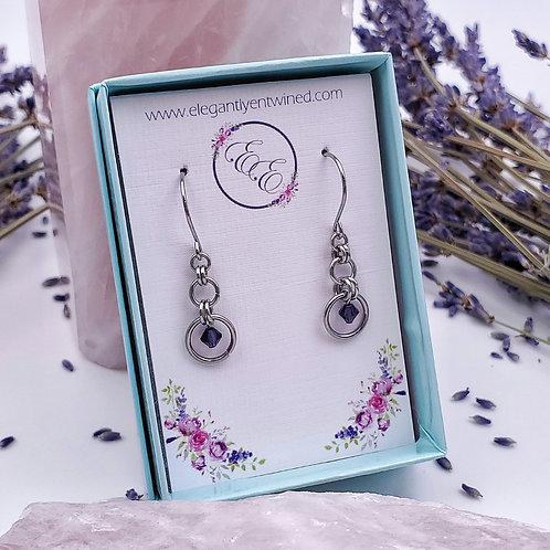 Amethyst Purple Crystal Earrings in Stainless Steel