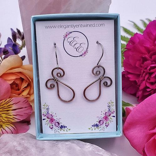 Swirly Hammered Copper Earrings