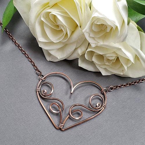 Swirled Copper Heart Pendant - 1.5 inches