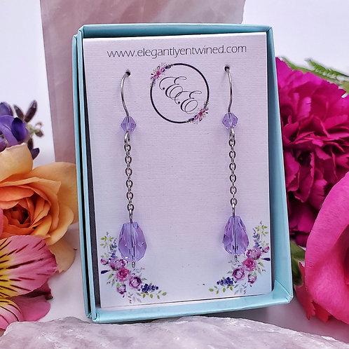 Lavender Purple Crystal Fine Chain Earrings in Stainless Steel