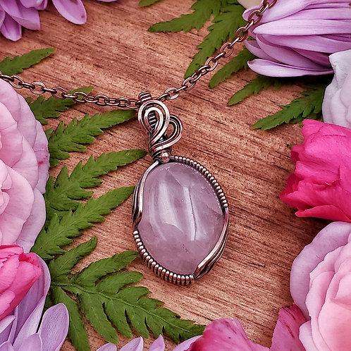 Rose Quartz Pendant in Copper with Bead Accent