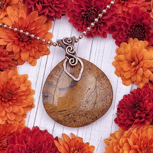 Mustard Yellow Ocean Jasper Pendant with Woven Copper Leaf Inspired Bail
