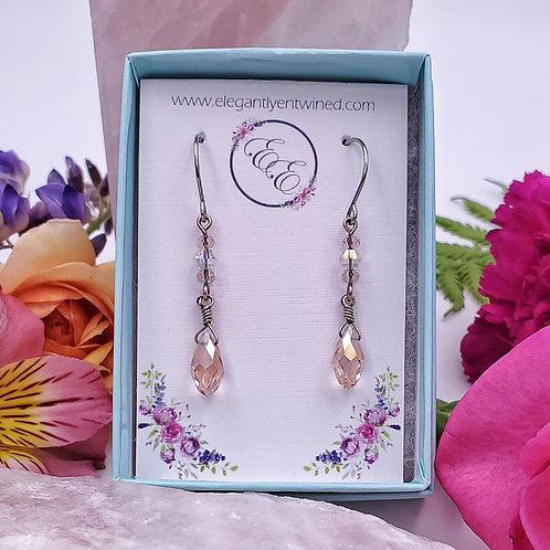 Peach Crystal Teardrop Earrings in Copper