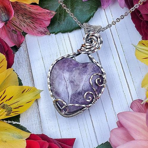 Amethyst Heart Pendant in Swirly Silver Frame